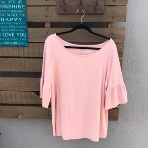 Blush bell sleeve blouse